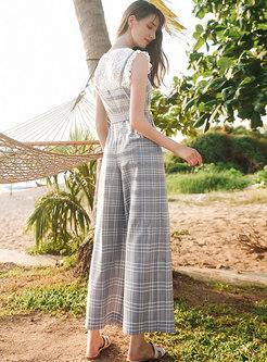 Solid Color Lace Top & Plaid Wide Leg Pants