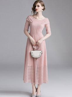 Pink Slash Neck Half Sleeve Big Hem Maxi Dress