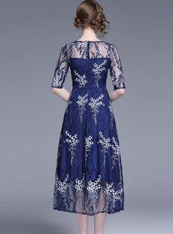Mesh Half Sleeve High Waisted A Line Dress
