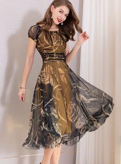 Print O-neck Gathered Waist A Line Dress