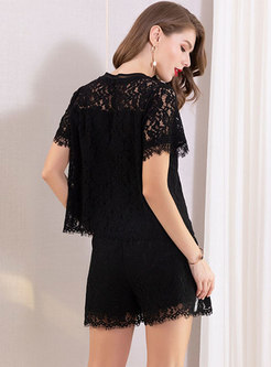 Sexy Lace O-neck Perspective Top & Shorts