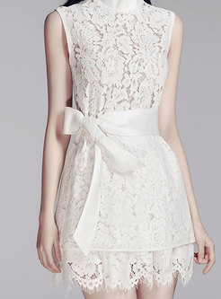 Lace Stand Collar Sleeveless Top & Shorts