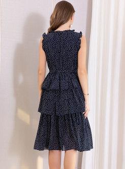 Polka Dot Sleeveless Tie-waist Layered Dress