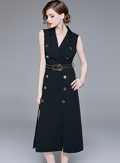 Turn Down Collar Belted Double-breasted Sheath Dress