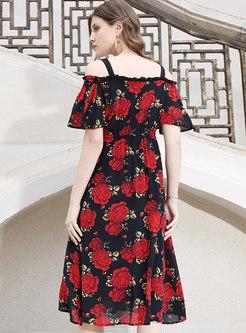 Stylish Print Slash Neck Slim Midi Dress