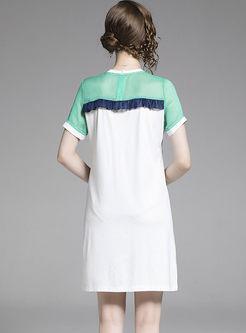 Casual Color-blocked Falbala Slim T-shirt Dress