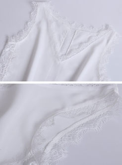 Brief V-neck Lace Up Sleeveless Cami
