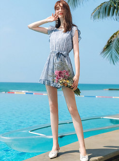 Sweet O-neck Tied Chiffon Wide Leg Romper