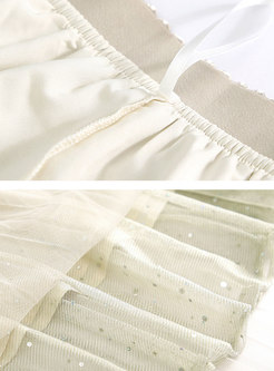 Sequin Mesh Splicing Pure Color Pleated Skirt
