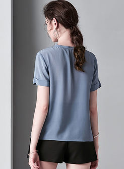 O-neck Short Sleeve Pullover Loose T-shirt