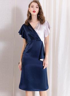 Elegant Color-blocked V-neck Bodycon Dress