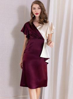 Color-blocked V-neck High Waist Bodycon Dress