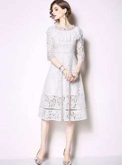 Slash Neck Three Quarters Sleeve Lace Big Hem Dress