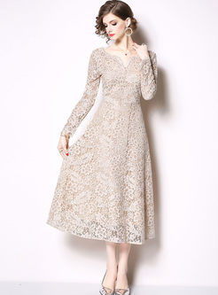 V-neck Long Sleeve Openwork Lace Bridesmaid Dress