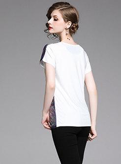 Casual Print O-neck Loose T-shirt