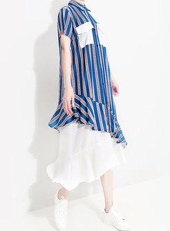 Striped Splicing Lapel Asymmetric Falbala Dress
