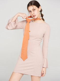 Vintage Solid Color Sheath Dress & Mesh Skirt