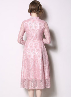 Standing Collar Lace Pure Color A Line Dress