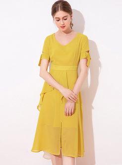 V-neck Short Sleeve Solid Color A Line Dress