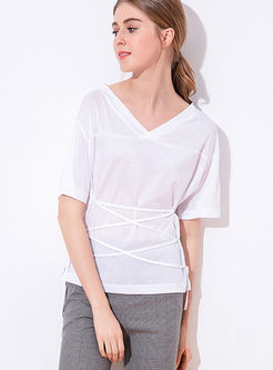 Brief Solid Color V-neck Pullover T-shirt