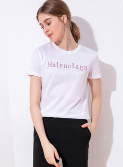 O-neck Letter Embroidered Cotton T-shirt