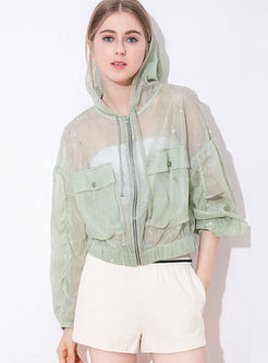 Fashion Hooded Perspective Lace Thin Coat