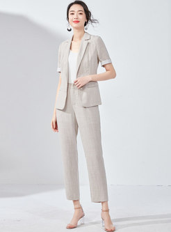 Turn Down Collar Slim Blazer & Straight Pants