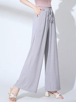 Casual Pure Color Elastic Waist Wide Leg Pants