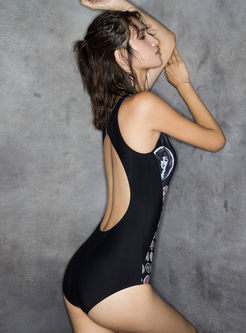 Trendy Backless Print Conservative Swimsuit