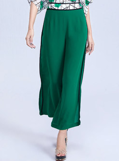 Casual Color-blocked Slit Wide Leg Pants