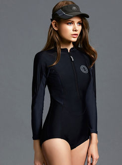 Color-blocked Long Sleeve Plus Size Swimsuit