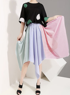 Chic Hit Color Striped Irregular A Line Skirt