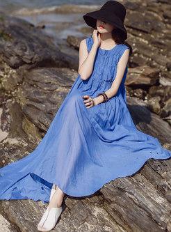 O-neck Pure Color Sleeveless Court Maxi Dress