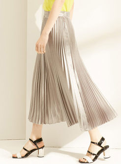 Fashion Elastic Waist Big Hem Pleated Skirt