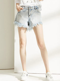 Casual High Waist Tassel Selvage Wide Leg Shorts