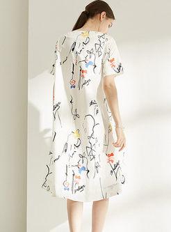 Casual Plus Size O-neck Print Bowknot Dress