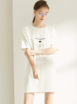 Brief Letter Print O-neck T-shirt Dress