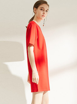 Brief Letter Print Red Shift T-shirt Dress