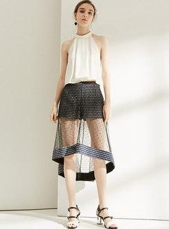 Asymmetric Polka Dot Mesh Splicing Slim Skirt