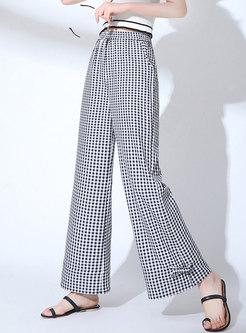 Stylish Plaid High Waist Chiffon Pants