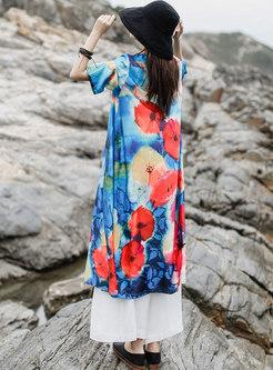 Print V-neck Big Hem Shift Maxi Dress