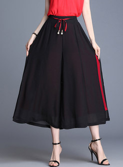 Summer High Waist Split Tied Wide Leg Pants