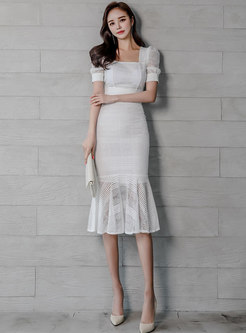 Stylish Square Neck Lace Top & Mermaid Sheath Skirt