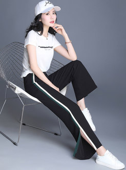 Striped Splicing Split Casual Straight Pants