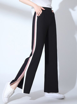 Brief Striped Splicing Split Straight Pants