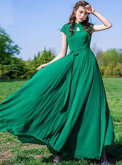 Elegant Stand Collar Tied Chiffon Maxi Dress
