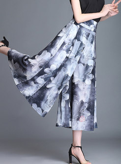 High Waist Print Plus-size Wide Leg Pants