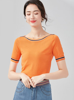Color-blocked Slash Neck Slim Knitted Top