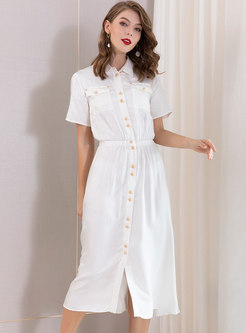 Elegant Lapel Elastic Waist Single-breasted Dress