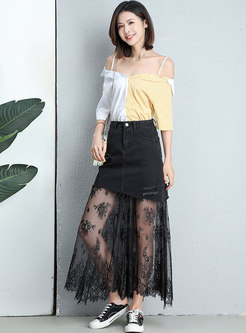 Stylish Lace Splicing Black Slim Skirt